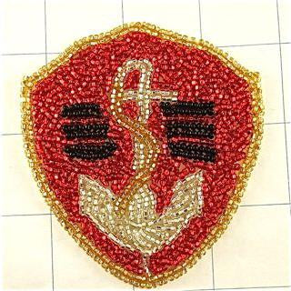 "Anchor with Red Beaded Emblem 3.25"" x 3"""
