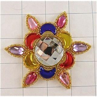 Designer Jewel Motif with Multi-Colored Stones 3.5""