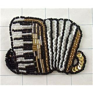 "Accordion with Black White Gold Beads and Sequins 2.5"" x 3"" - Sequinappliques.com"