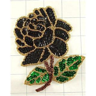 "Flower Rose Black with Gold Beads and Sequins 4"" x 3"""