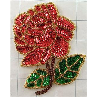 "Flower Red Sequin and Beaded Rose Large 4.5"" x 3.25"""