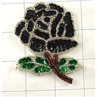 "Flower Rose Black Silver Green Sequins and Beads 3"" x 2"""