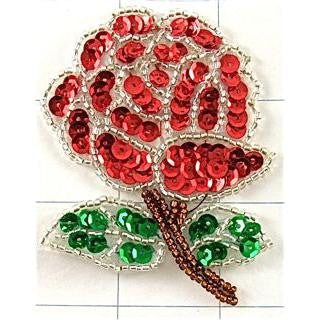 "Flower Rose with Red Green Sequins Silver Bronze Beads 3"" x 2.25                                                                              """