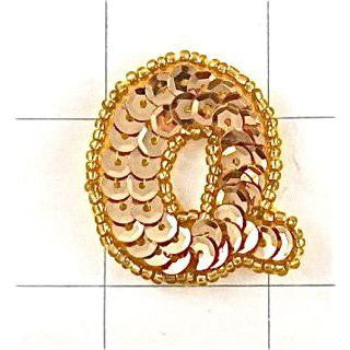 Letter Q with Gold Sequins and Beads 1.5""