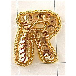 Letter R with Gold Sequins and Beads 1.25""