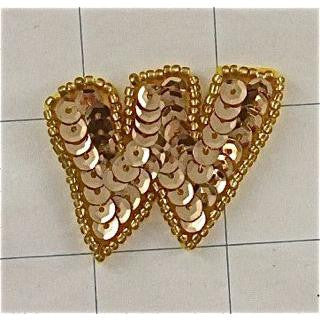 "Letter W with Gold Sequins and Beads 1.5"" x 1 7/8"""
