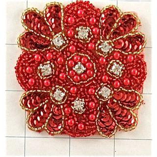 Designer Motif Red Sequins with Beads and Rhinestones 3""