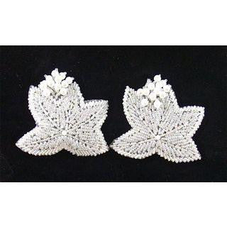 "Epaulets Leaf Pair with Iridescent Sequins and Beads 3"" x 2.5"""
