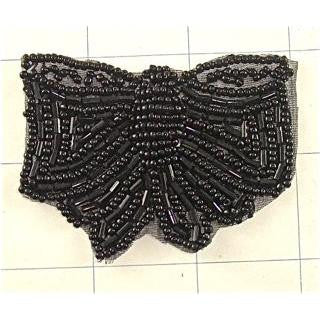 "Butterfly Black Beaded 2.5"" x 2"""
