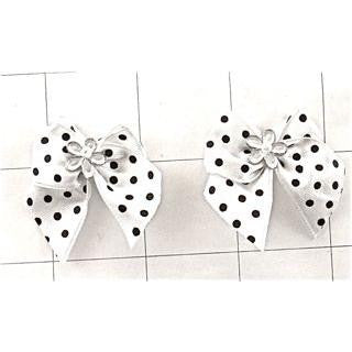 "Bow White Satin with Black Polka Dots 1.5"" x 2"""