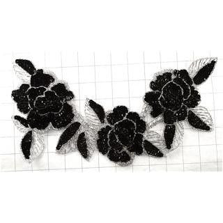 "Flower Neck Line with Black and Silver  Sequins and Beads 12"" x 6"""