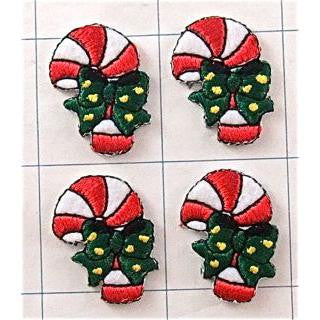 "Christmas Candy Cane and Bow, Set of Four Embroidered Iron on, 1"" x 3/4"""