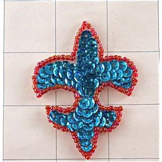 "Designer Motif Fleur De Leis Turquoise sequins with red beads 2.5"" x 1"""