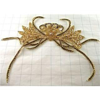 "Designer Motif Crab Shaped Gold Sequins Beads and Rhinstones  7"" x  8"""