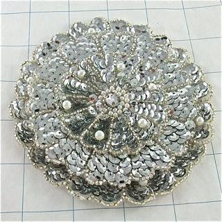 TRIPLE LAYERED SEQUIN MOTIF WITH BEADS AND RHINESTONE  5""