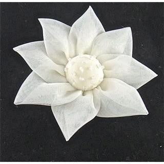 Flower White Silk with Beads 4""