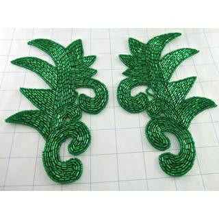 "Designer Motif Pair with Green Beads  7.5"" x 4.5"""
