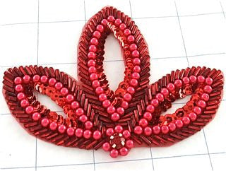 "Leaf with Red Sequins and Beads with Rhinstone 4.5"" x 3"""