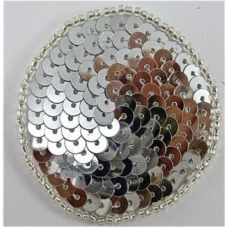 Circles and Dots with Silver Sequins and Beads 1.5""