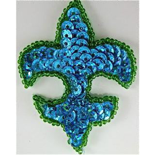 "Fleur de lis with Turquoise Sequins Green Beads 2.5"" x 2"""