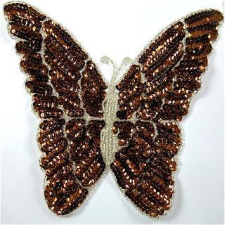 "Butterfly with Bronze Sequins and Silver Beads 7"" x 7"""