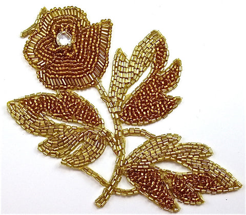 "Flower Vintage with Gold Beads and Rhinestone 7"" x 4.5"""