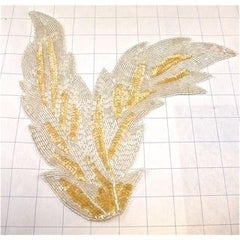 "Leaf with Lite Yellow and White Sequins and Beads 9.5"" x 8 .5"""