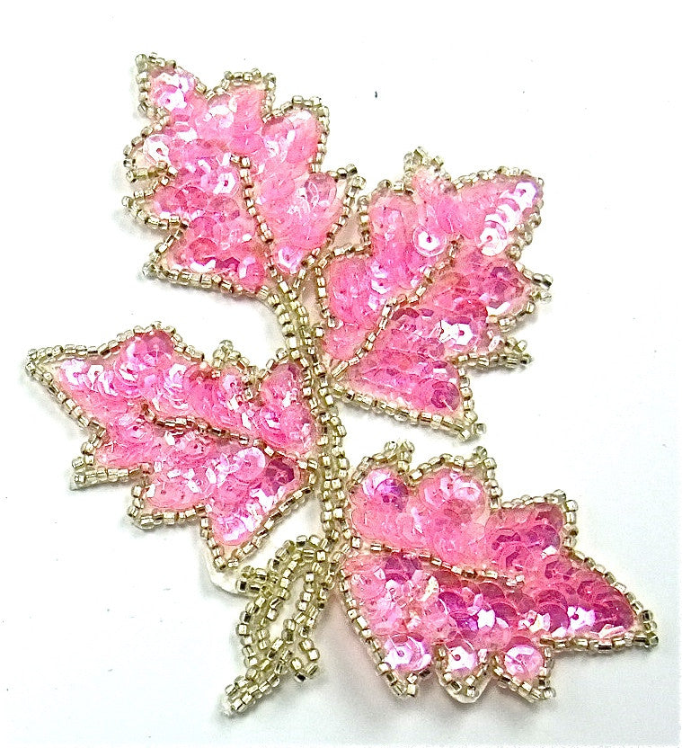 "Leaf Leaf Single with Bright Pink Sequins and Silver Beads 5"" x 4"""