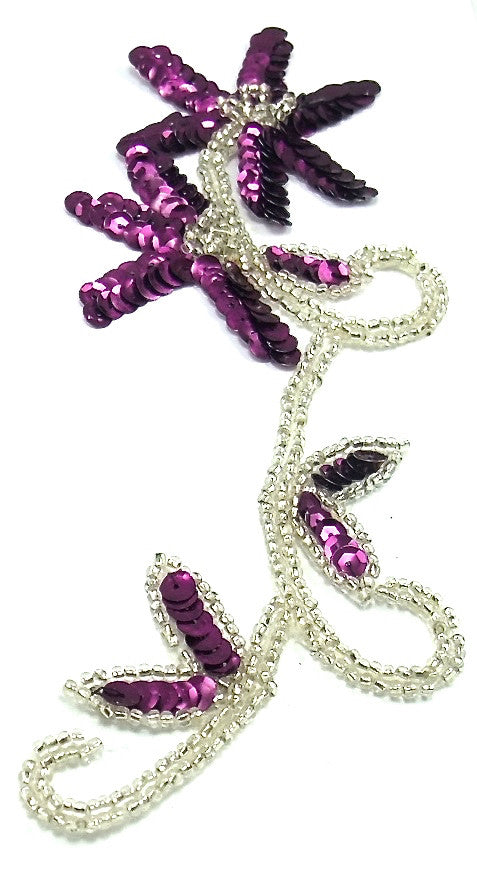 "Flower with Mauve Sequins Silver Beads and Rhinestone 8"" x 3.5"""