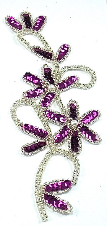 "Flower with Mauve Sequins Trimmed in Silver Beads 8.5"" x 3"""