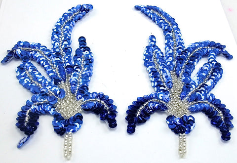 "Leaf Pair with Royal Blue Sequins and Silver Beads 6"" x 3.25"""