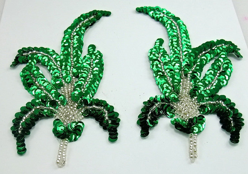 "Leaf Pair with Green Sequins and Silver Beads 6"" x 3.5"""