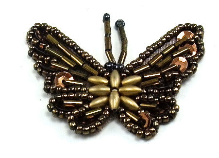 "Butterfly with Bronze Beads 2"" x 1.5"""