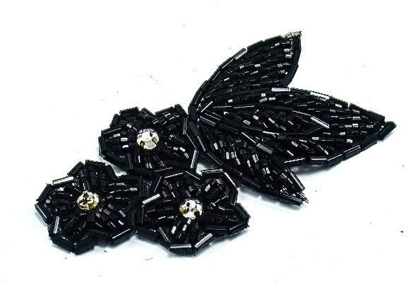 "Flower with Black Beads and Three Rhinestones 3"" x 2"""