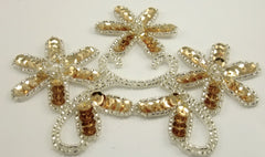 "Flower Triple with Gold Sequins silver Beads and Pearl 4"" x 5"""