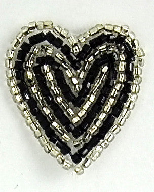 "Heart with Black and Silver Beads 1.25"" x 1.25"""