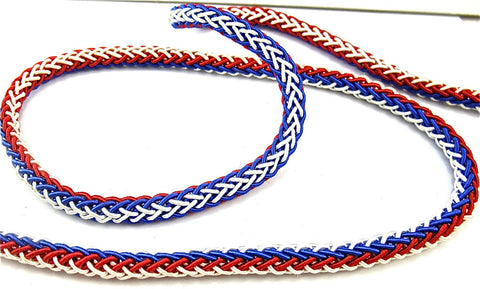 "Trim Red White and Blue Rope Style Rayon/Cotton 1/4"" Wide Sold by the Yard"