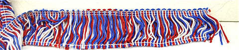 "Fringe Red White and Blue Cotton 2"" W"