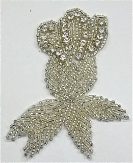 "Flower Rhinestone and Beaded 4"" x 3"""