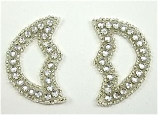 "Designer Motif Rhinestone and Beads Pair 2.5"" x 1.5"""