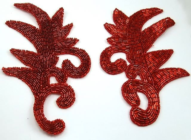 "Leaf Pair with Red Beads 7"" x 4.5"""