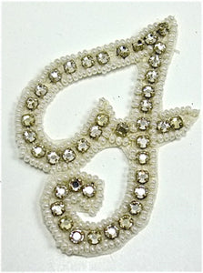 "Letter F with Rhinestones 2.5"" x 2"""