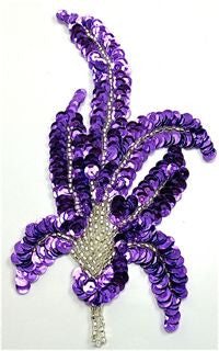 "Design Motif with Purple Sequins and Silver Beads 6"" x 3.5"""