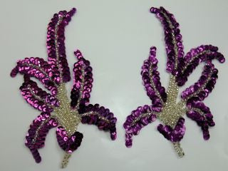 "Design Motif Pair with Mauve Sequins and Silver Beads  6"" x 3.5"""