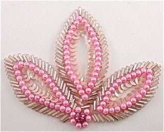 "Leaf with Pink Sequins and Beads with Rhinestone 4.5"" x 3"""