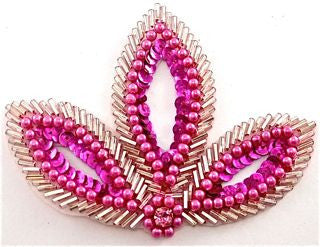 "Leaf with Fuchsia Sequins and Beads with Rhinestone 4.5"" x 3"""