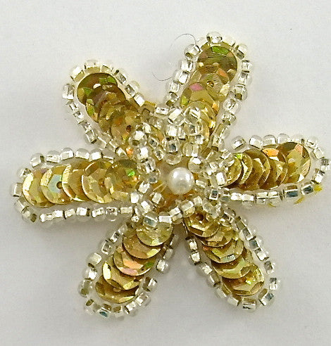Flower with Gold Sequins Silver Beads and Pearl 2""