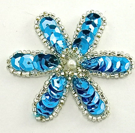 Flower with Turquoise Sequins and Silver Beads 2""