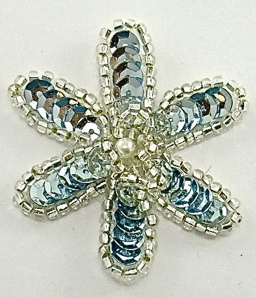 Flower with Ice Blue Sequins and Silver Beads and Pearl 2""
