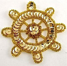 Load image into Gallery viewer, Ships Wheel Gold Sequins and Beads 3""